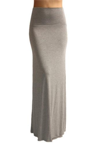 Fold Over Light Grey Maxi Skirt - Home Goods Galore