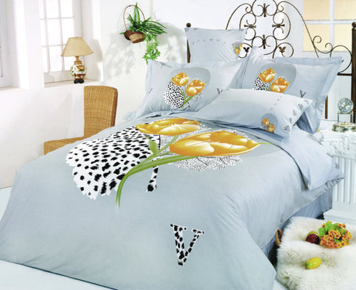 Full/Queen Size Duvet Cover Sheets Set, Hayat - Home Goods Galore