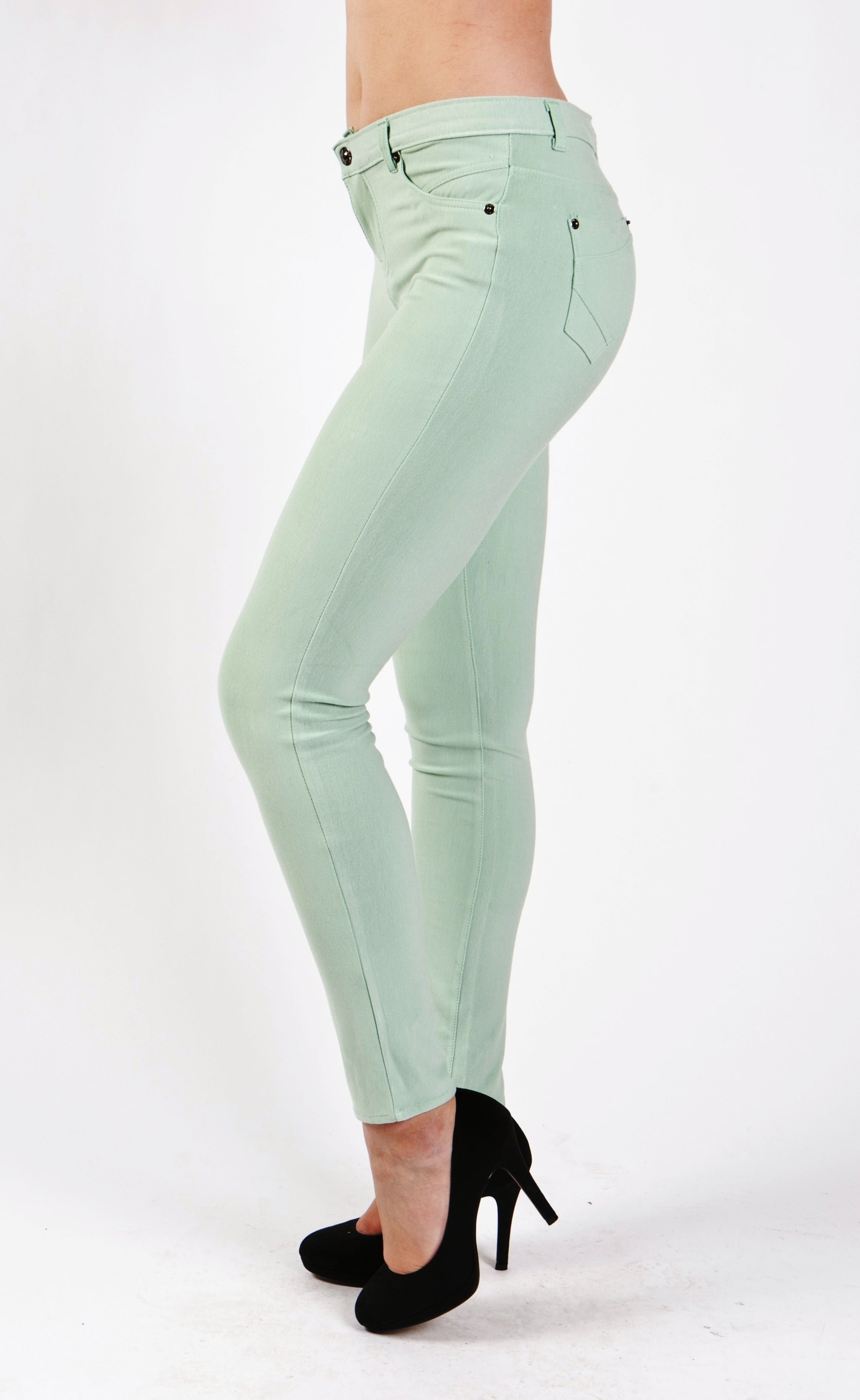 5 Pocket Slim Fit Skinny Pants-Mint - Home Goods Galore