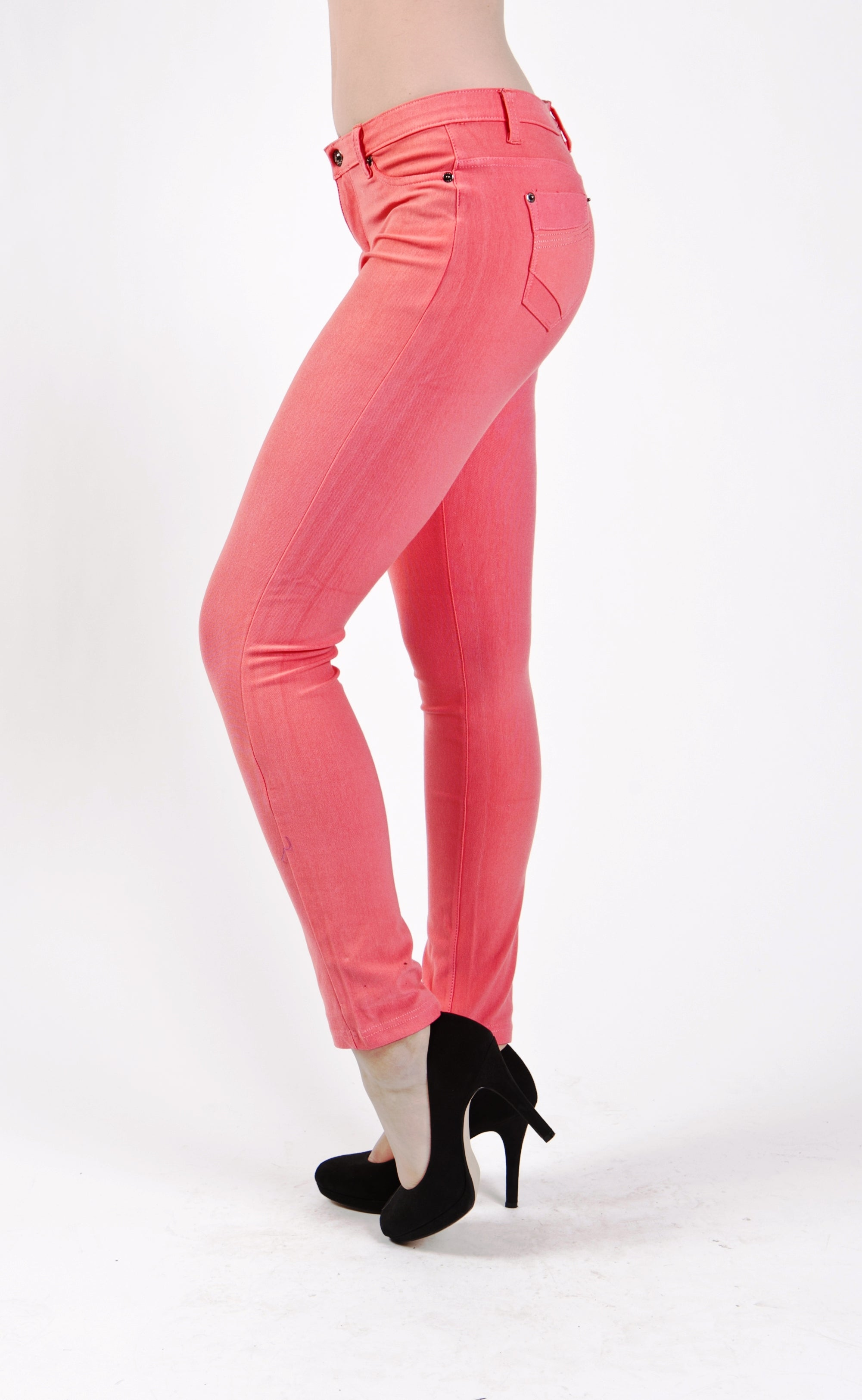 5 Pocket Slim Fit Skinny Pants-Peach - Home Goods Galore
