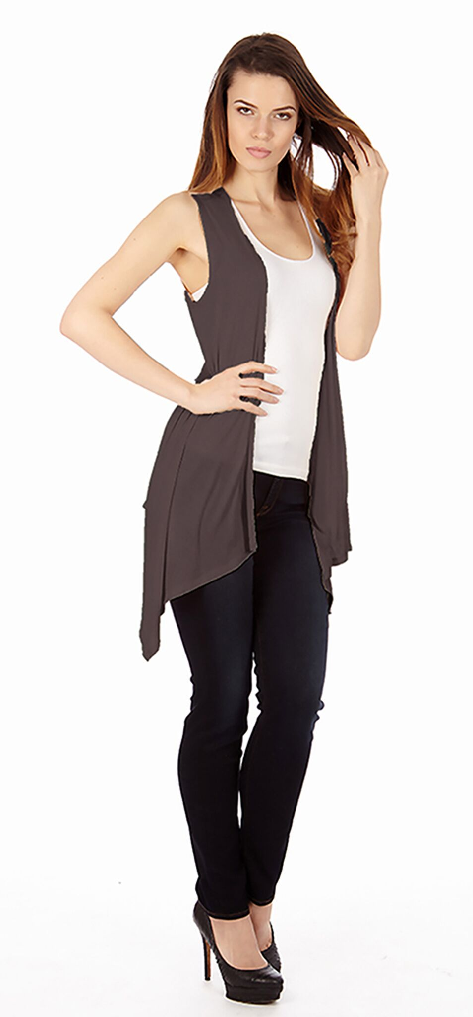 Dark Heather Gray Sleveless Cardigan