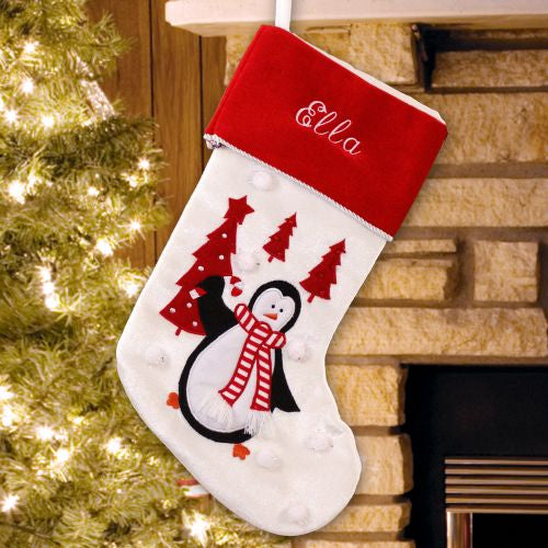 Penquin and trees Christmas Stocking - Home Goods Galore