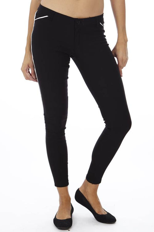 Black Slim Fit Side Stripe Jegging - Home Goods Galore