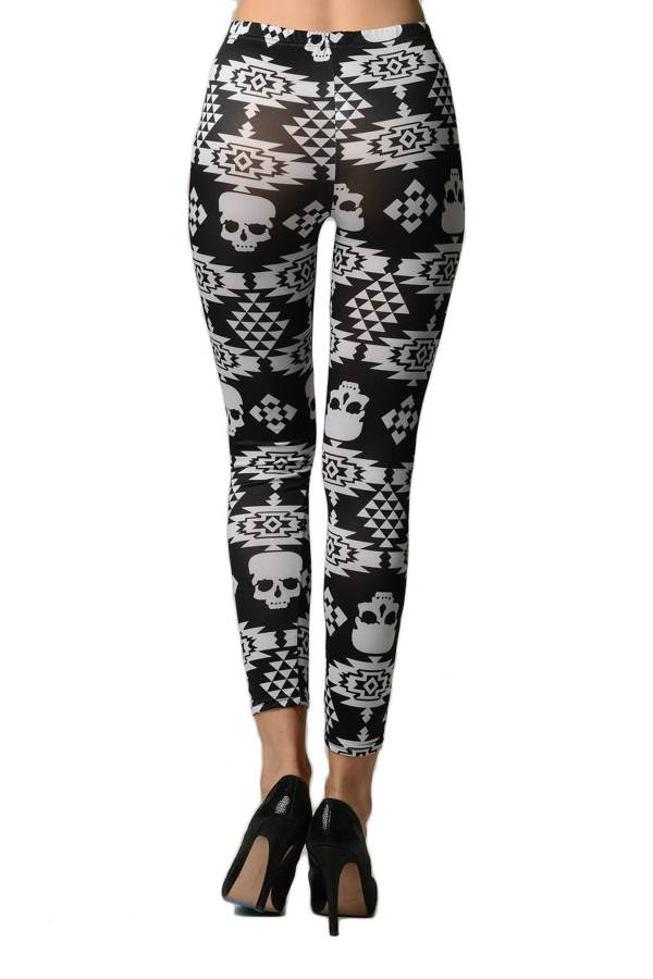 Women's Skull Print Black and White Leggings