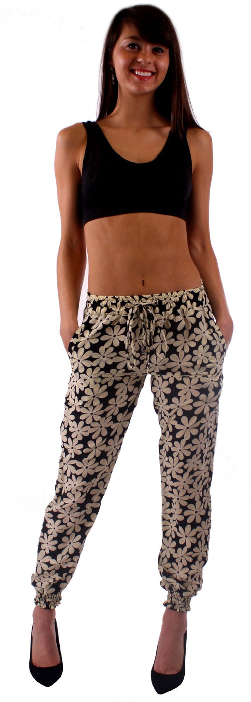 Black and White Daisy Print Harem Style Jogger Pants