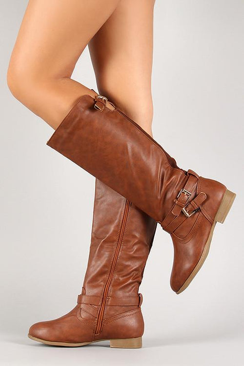 Tan Thin Straps Almond Toe Mid Calf Ridding Boots - Home Goods Galore