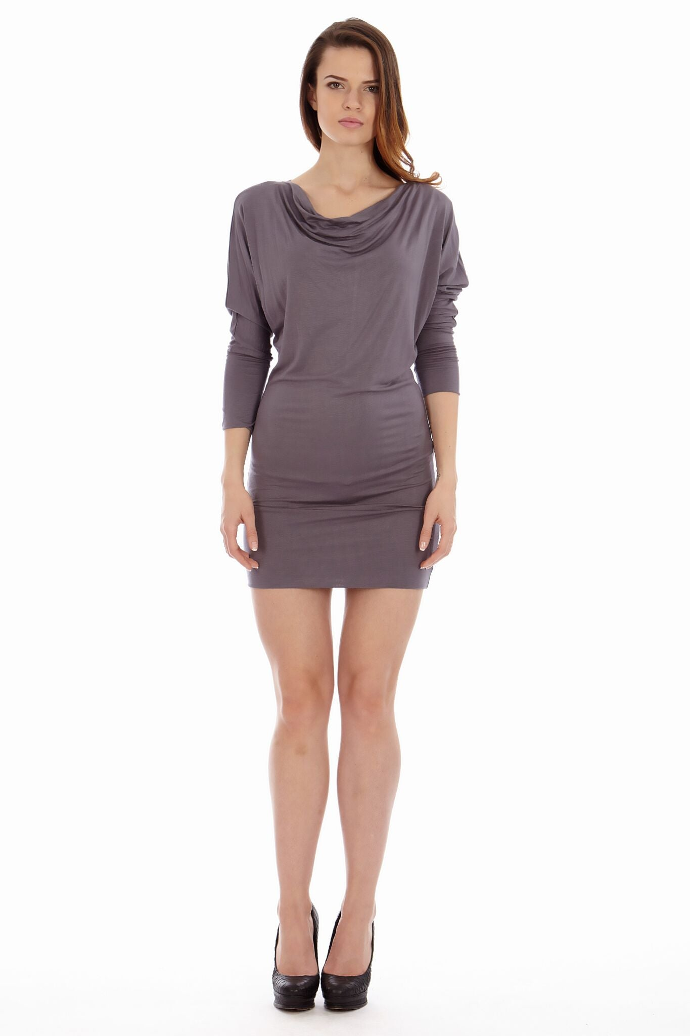 Gray Cowl Neck Dress