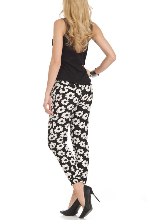 Black and White Flower Print Harem Jogger Pants - Home Goods Galore