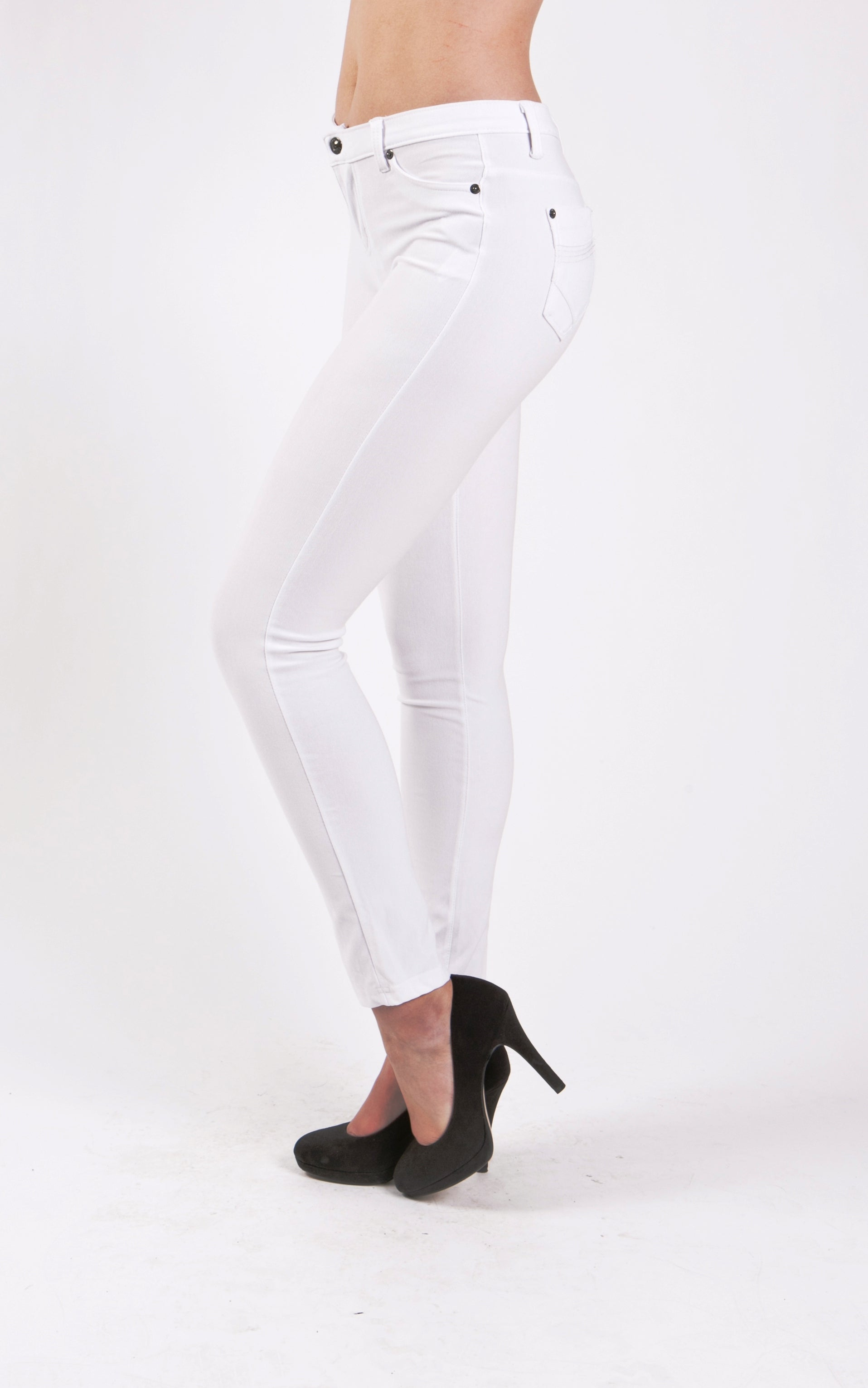 5 Pocket Slim Fit Skinny Pants-White - Home Goods Galore
