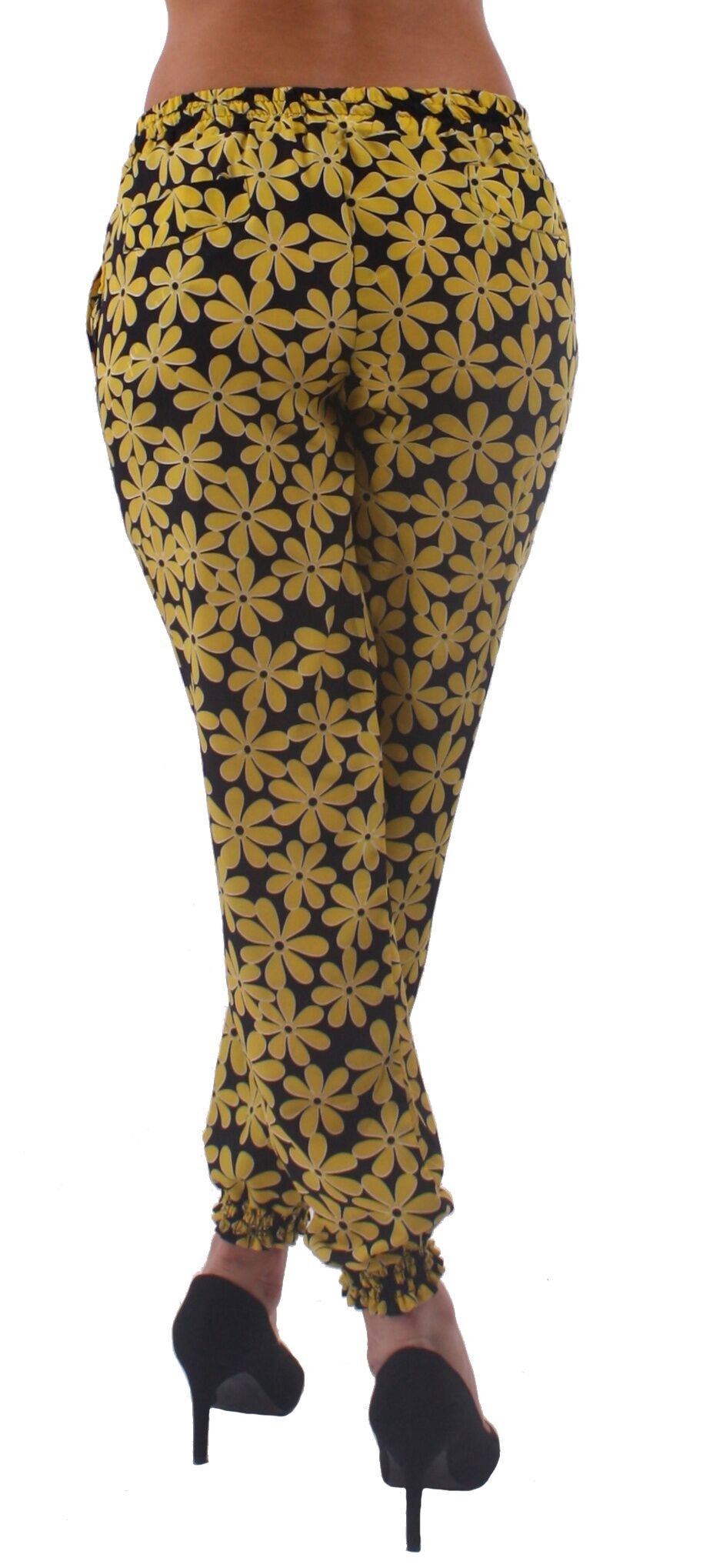 Black and Yellow Daisy Print Harem Style Jogger Pants - Home Goods Galore