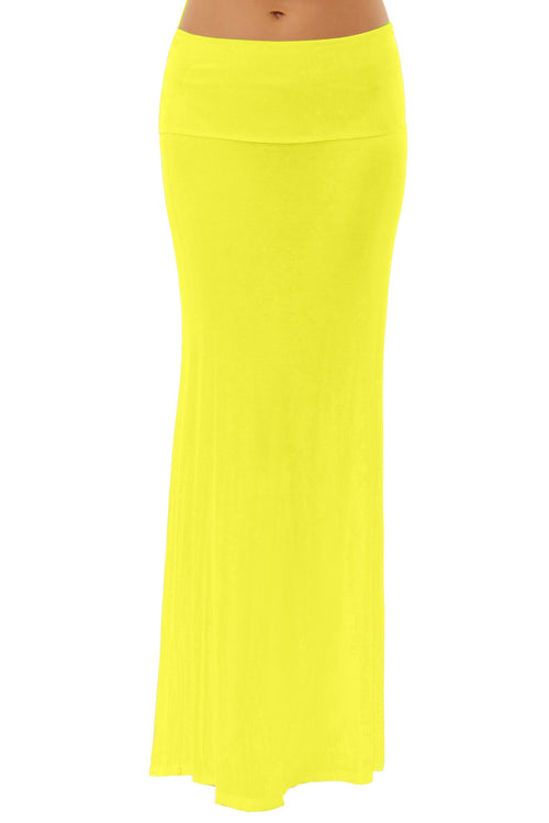 Fold Over Yellow Maxi Skirt