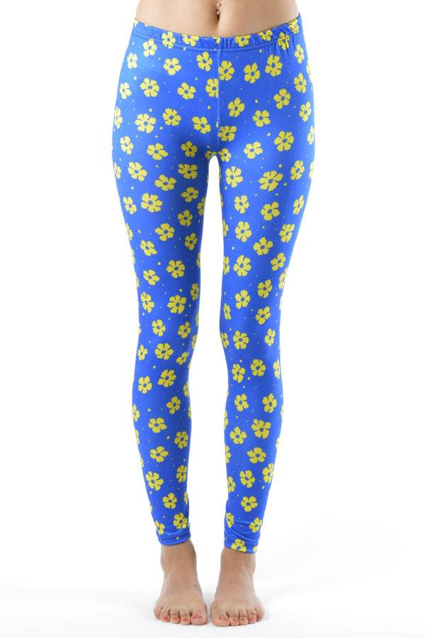 Blue Floral Print Leggings - Home Goods Galore