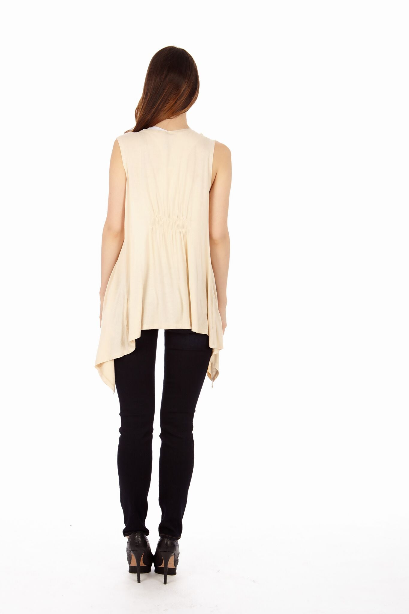 Sand Color Sleveless Cardigan - Home Goods Galore