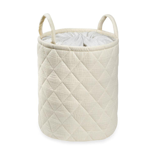 Beige Quilted storage Bag With Handle Tetra Storage Bin Closet Toy Box Container Organizer Fabric Ba