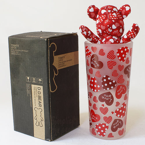 SYNC - [Heart Red] Stuffed Bear Glass Cup (6.3 inch height)