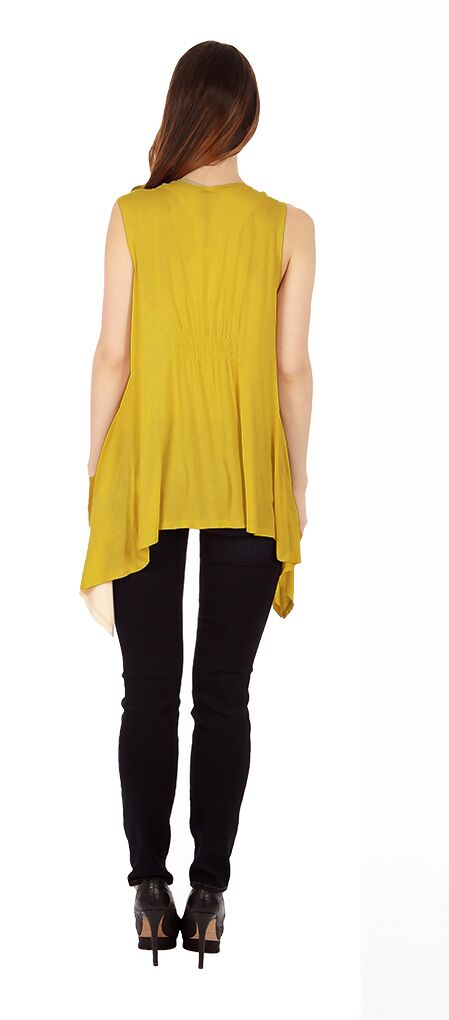 Mustard Color Sleveless Cardigan - Home Goods Galore