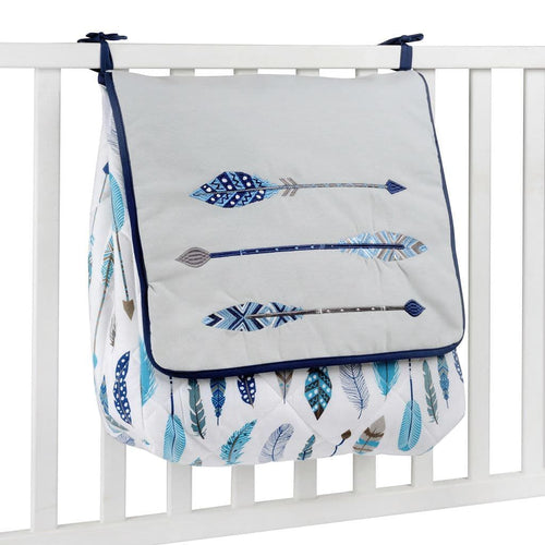 Blue Feather Diaper Bag
