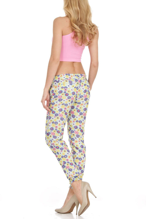 Mint Daisy Abstract Floral Print Harem Style Jogger Pants