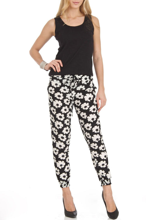 Black and White Flower Print Harem Jogger Pants