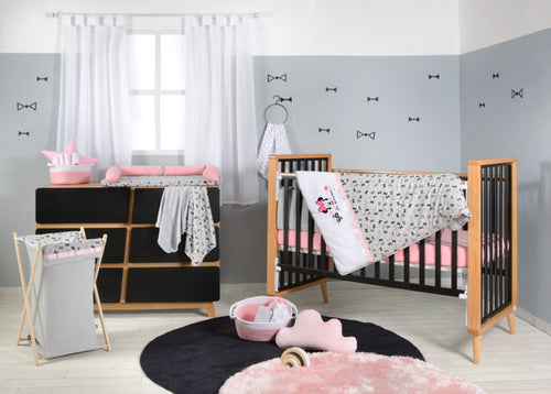 Disney Pink Minnie Mouse Cotton 3 Piece Crib Bedding Set For Girls