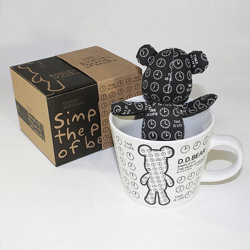 SYNC - [Black Clock] Stuffed Bear Mug (3.3 inch height)