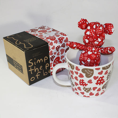 SYNC - [Heart Red] Stuffed Bear Mug (3.3 inch height)