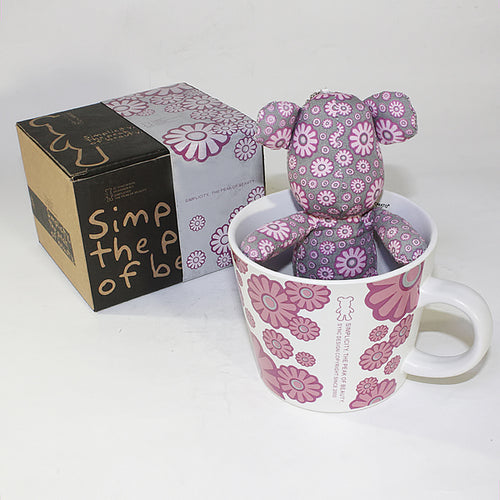 SYNC - [Flower Pink] Stuffed Bear Mug (3.3 inch height)