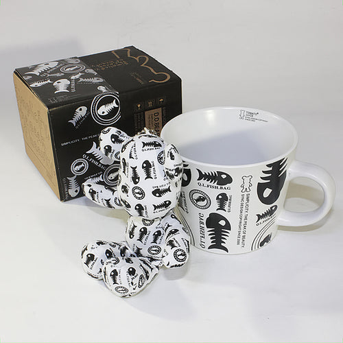 SYNC - [Fish Bones] Stuffed Bear Mug (3.3 inch height)