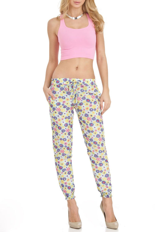 Mint Daisy Abstract Floral Print Harem Style Jogger Pants - Home Goods Galore