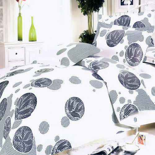 White Gray Marbles 100% Cotton 4PC Duvet Cover Set Full Size - Home Goods Galore