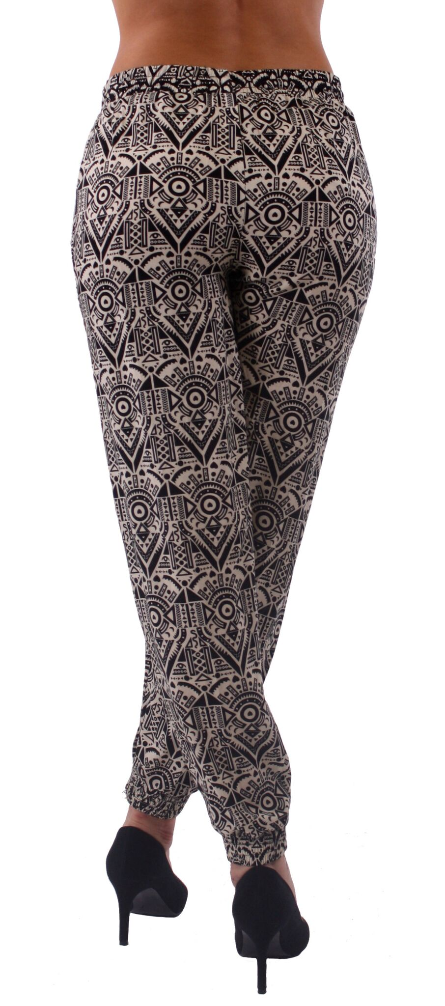 Black & White Print Harem Style Jogger Pants - Home Goods Galore