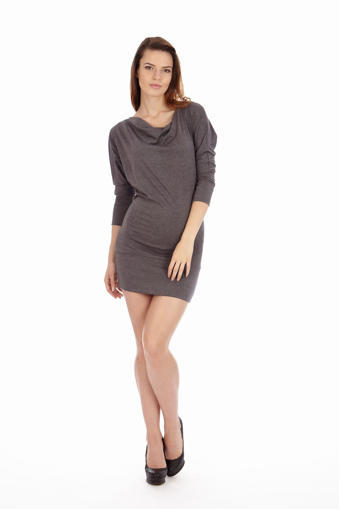 Dark Heather Cowl Neck Dress