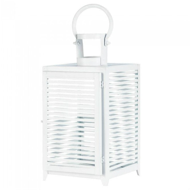 White Slatted Candle Lantern - 15 inches