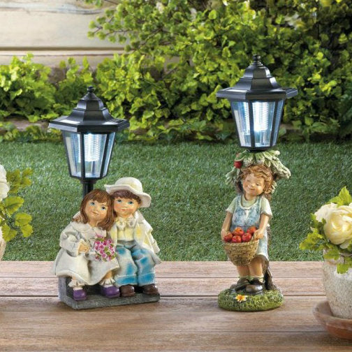 Child with Apple Basket Solar Garden Light