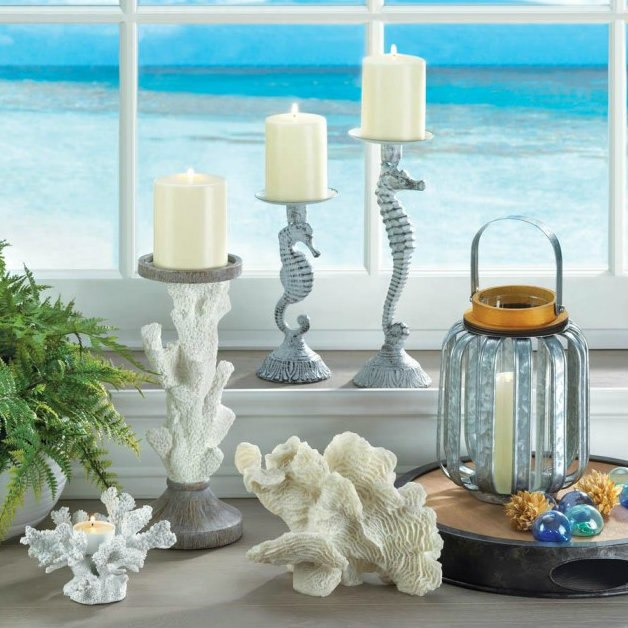 Distressed-Look Metal Seahorse Candle Holder - 11 inches