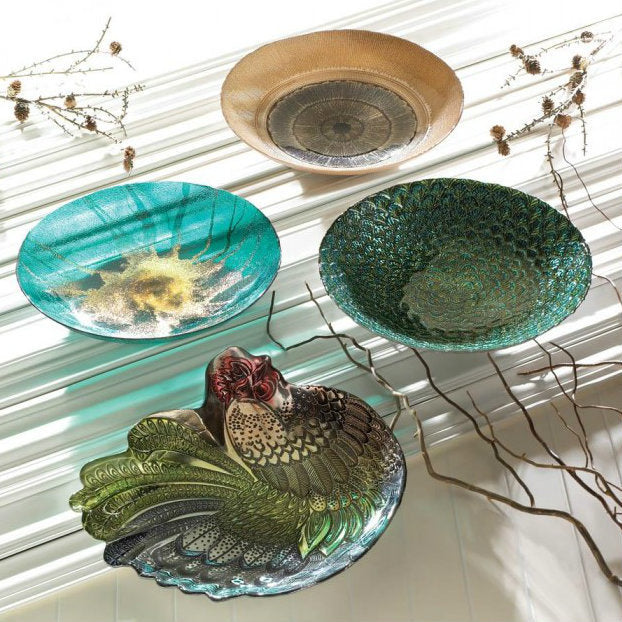 Peacock Feathers Decorative Glass Bowl