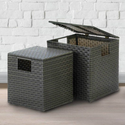 Wicker-Look Nesting Storage Trunks