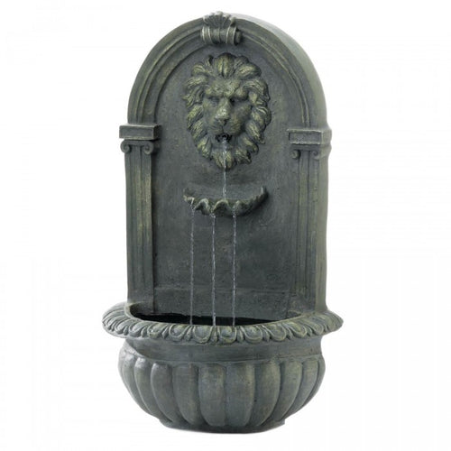 Regal Lion's Head Stone-Look Wall Fountain - Mossy Green