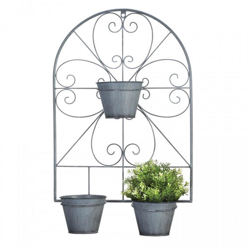 Scrolled Trellis Wall Planter with Metal Pots