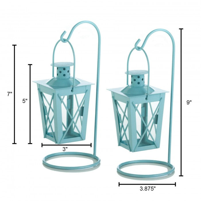 Hanging Railroad Lanterns Pair - Baby Blue