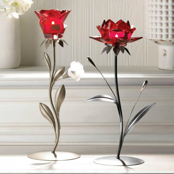 Romantic Red Flower Candle Holder - Single