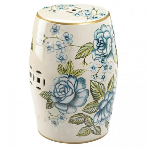 Romantic Floral Decorative Ceramic Stool or Side Table