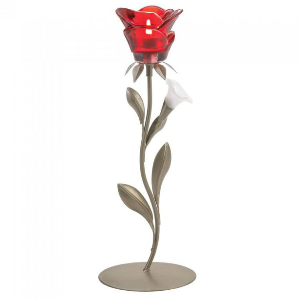 Single Red Rose Candle Holder