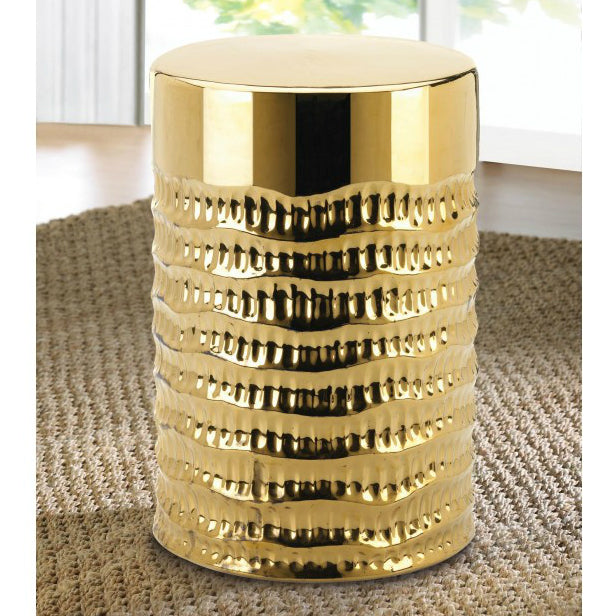 Gold Textured Ceramic Stool or Side Table