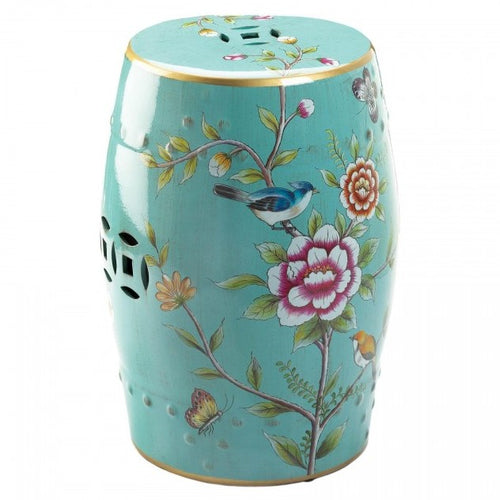Floral Decorative Ceramic Stool or Side Table