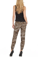 Brown Leopard Print Harem Style Jogger Pants - Home Goods Galore