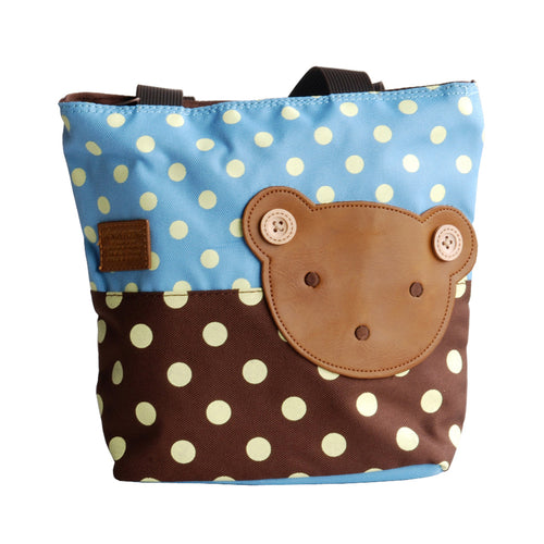 [Bear-Skyblue] Blancho Applique Kids Fabric Art Mini Shopper Bag/Tote Bag-Small Size (9.4*2.7*7.8)