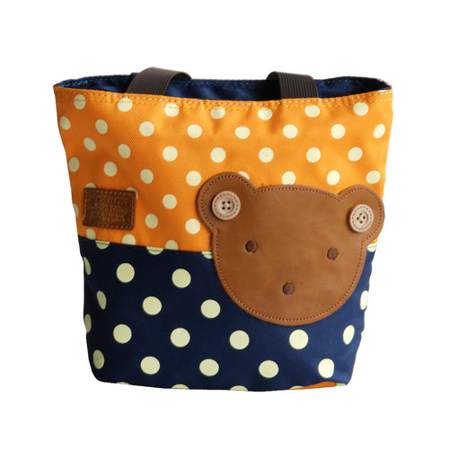 [Bear-Orange] Blancho Applique Kids Fabric Art Mini Shopper Bag/Tote Bag-Small Size (9.4*2.7*7.8)