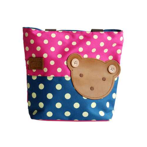 [Bear-Rosered] Blancho Applique Kids Fabric Art Mini Shopper Bag/Tote Bag-Small Size (9.4*2.7*7.8)
