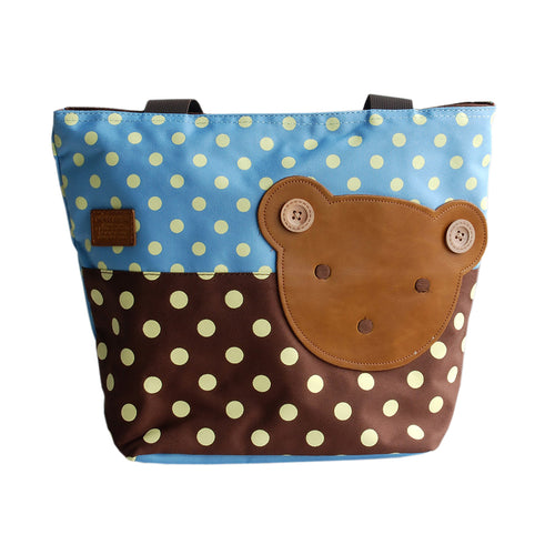 [Bear-Skyblue] Blancho Applique Kids Fabric Art Tote Bag/Shopper Bag-Middile size (13.3*5.1*10.6)